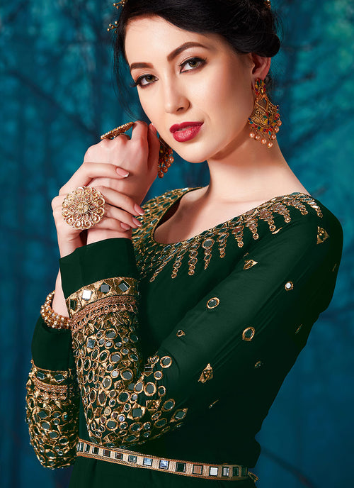 Green All Over Mirror Embroidered Anarkali Suit