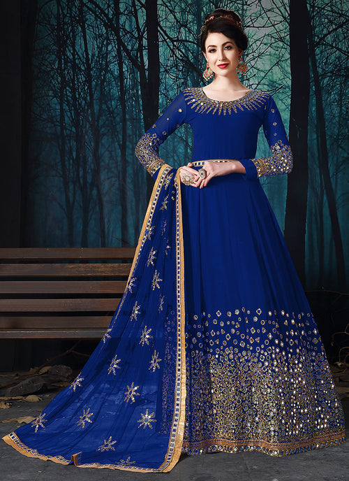 Blue All Over Mirror Embroidered Anarkali Suit