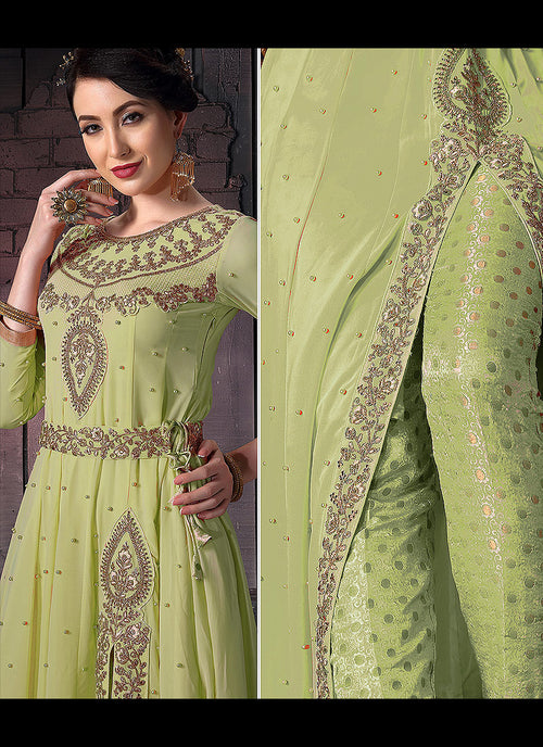 Light Green Embroidered Slit Style Anarkali Pants Suit