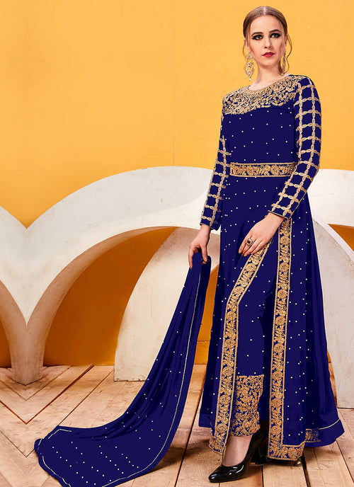 Blue Golden Heavy Embroidered Pant Suit