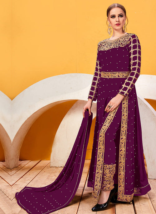 Magenta Golden Heavy Embroidered Pant Suit