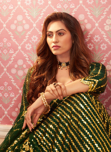 Green Golden Sequence Embroidered Lehenga Choli
