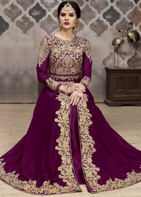 Indian Clothes - Plum Purple Golden Afghan Dress