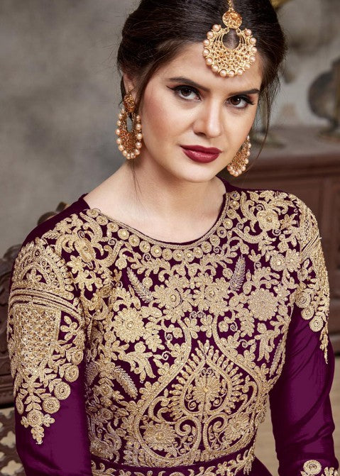 Indian Suits - Plum Purple Golden Afghan Dress
