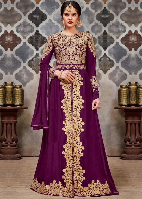 Plum Purple Golden Afghan Dress