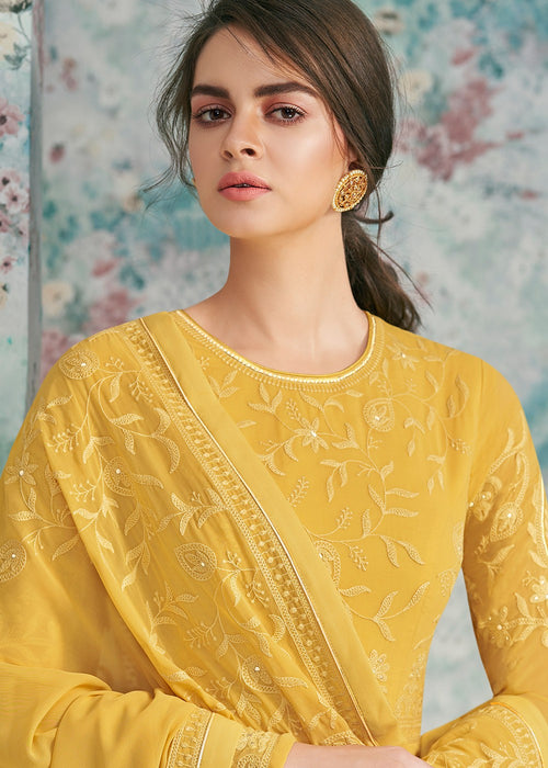 Indian Clothes - Yellow Lucknowi Anarkali Suit
