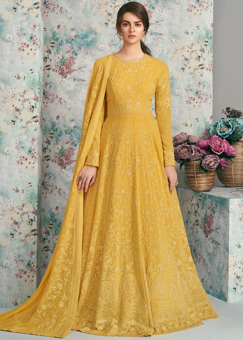 Yellow Lucknowi Anarkali Suit