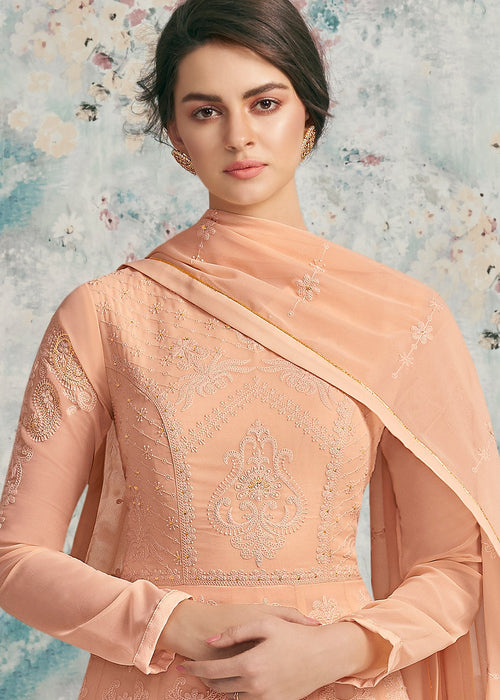 Indian Clothes - Peach Lucknowi Anarkali Suit