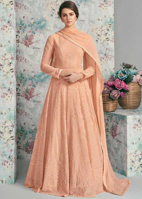 Peach Lucknowi Anarkali Suit