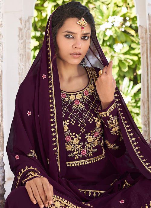 Plum Golden Gharara Palazzo Suit In usa