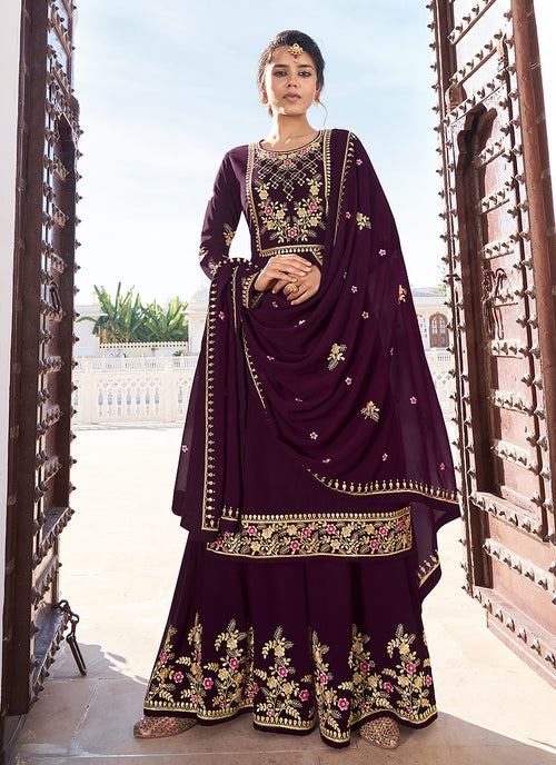 Plum Golden Embroidered Gharara Palazzo Suit