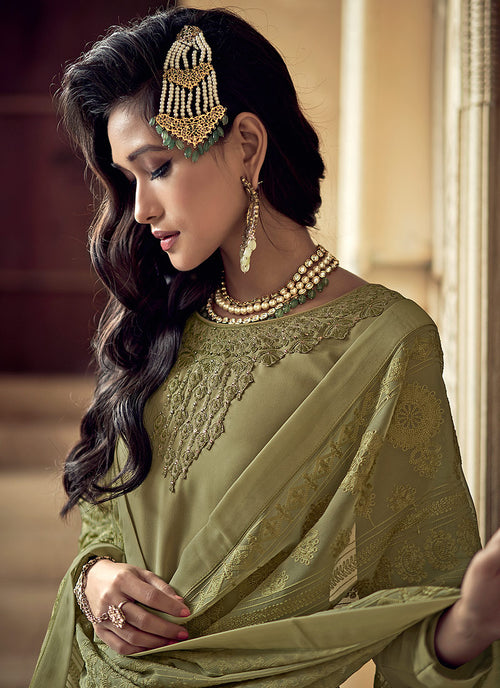 Indian Clothes - Light Green Embroidered Designer Sharara Suit