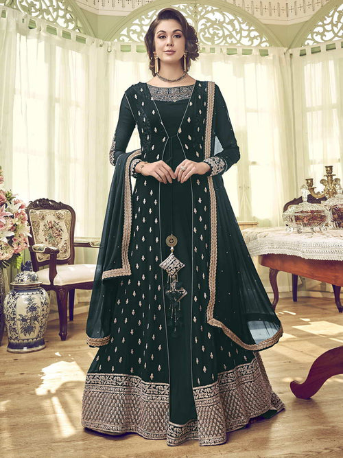 Green Overcoat Style Anarkali Gown