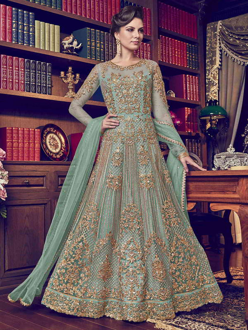 Green Designer Bridal Anarkali Suit