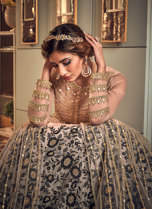 Indian Dresses - Baby Pink And Gold Designer Anarkali Gown