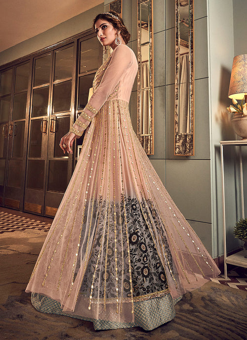 Indian Suits - Baby Pink And Gold Anarkali Gown
