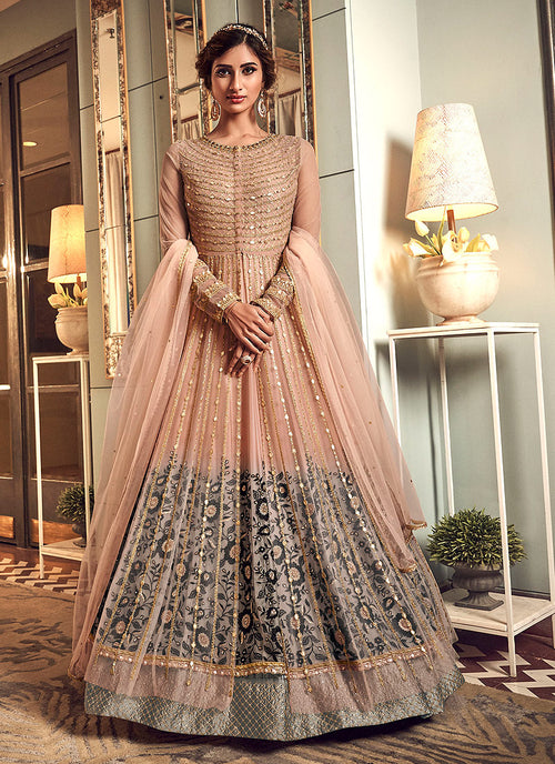 Baby Pink And Gold Designer Anarkali Suit