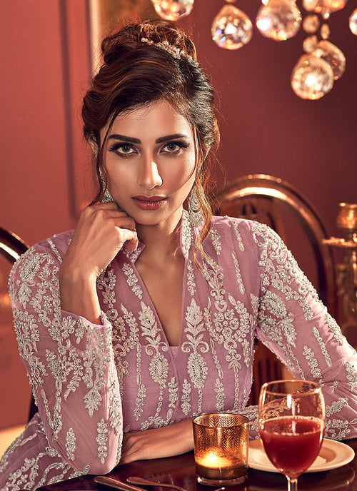 Indian Dresses - Dusky Pink Embroidered Palazzo Suit