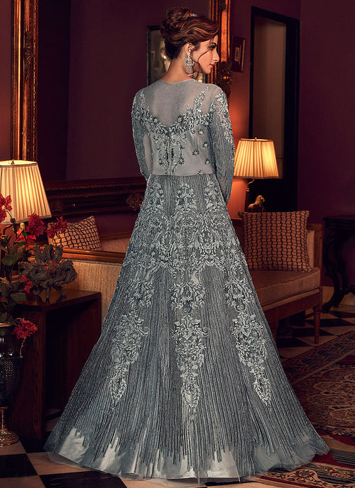 Indian Suits - Silverish Grey Anarkali Gown