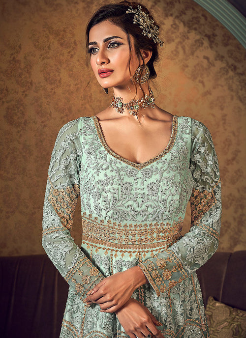 Indian Dresses - Mint Green Golden Jacket Style Anarkali Gown