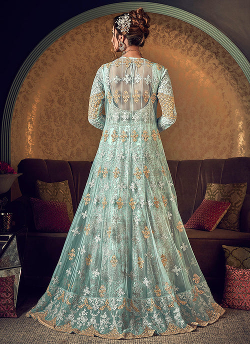 Indian Suits - Mint Green Golden Embroidered Anarkali Gown