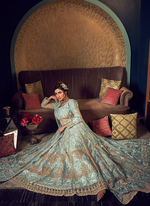 Indian Clothes - Mint Green Golden Anarkali Gown