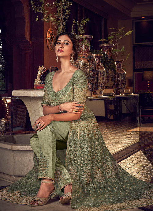 Indian Dresses - Pastel Green Motif Embroidered Anarkali Lehenga