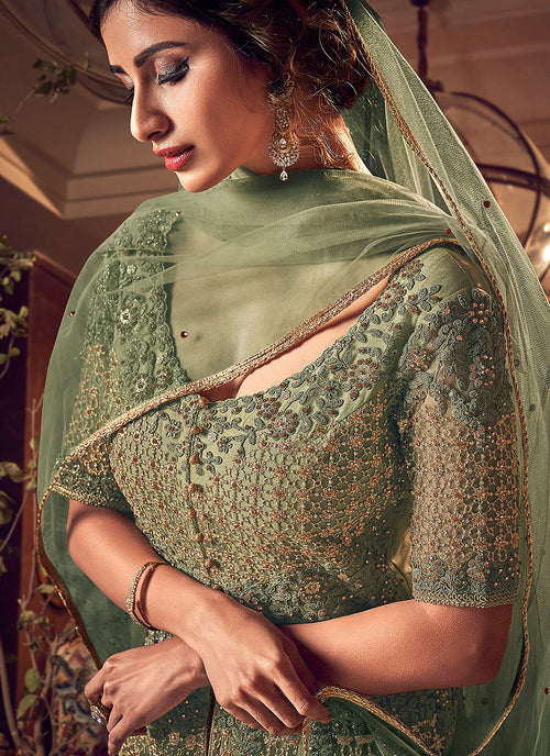 Indian Suits - Pastel Green Motif  Anarkali Lehenga