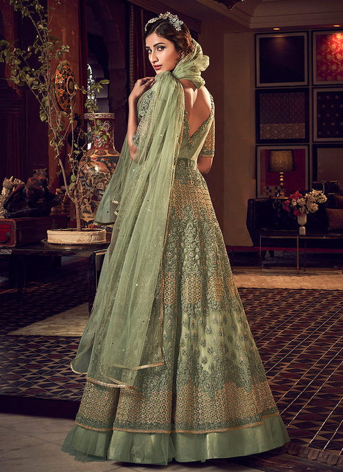 Indian Clothes - Pastel Green Motif Embroidered Jacket Style Anarkali Lehenga