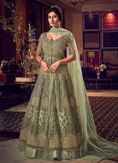 Green Jacket Style Anarkali Suit