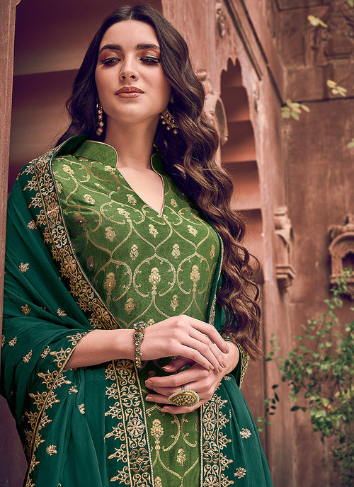 Indian Clothes - Green Designer Embroidered Palazzo Suit