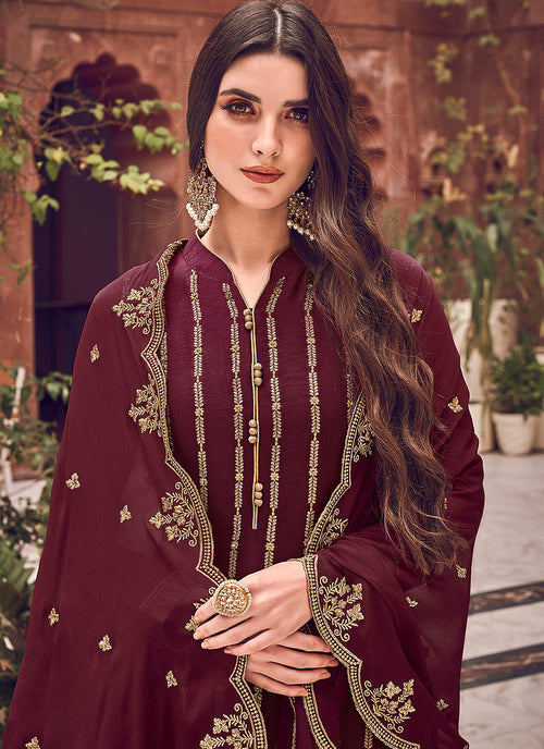 Indian Clothes - Maroon Designer Palazzo Suit