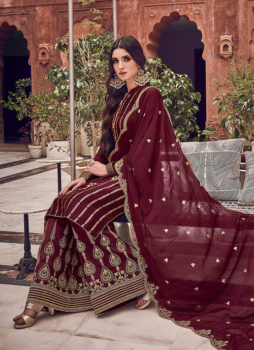 Indian Suits - Maroon Palazzo Suit In usa uk canada