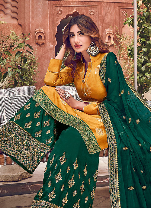 Indian Clothes - Yellow And Green Palazzo Suit
