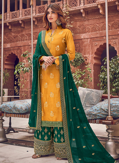 Yellow And Green Designer Palazzo Suit