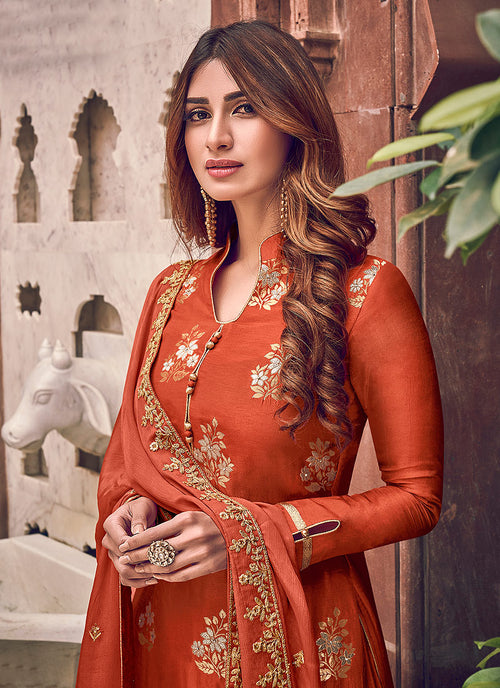 Indian Clothes - Orange Designer Embroidered Palazzo Suit