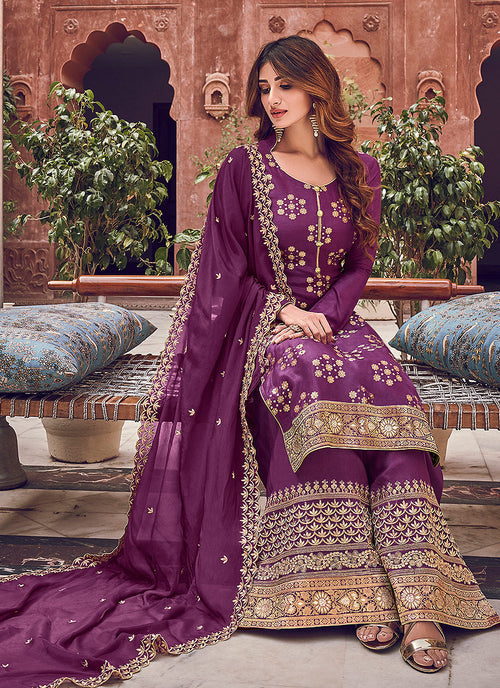 Indian Clothes - Purple Designer Embroidered Palazzo Suit