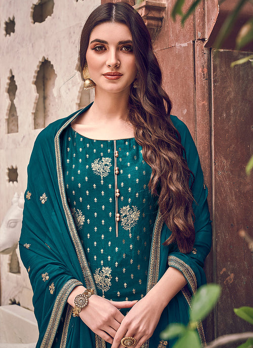 Indian Clothes - Turquoise Designer Palazzo Suit