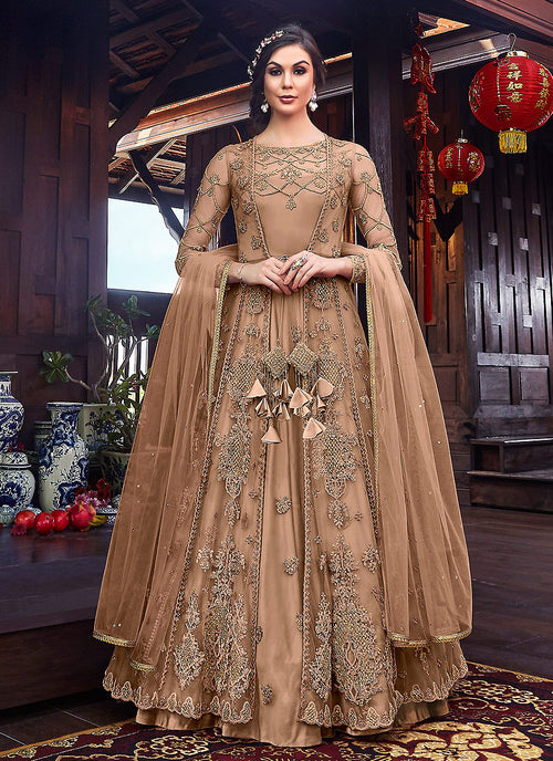 Indian Clother - Copper Floral Embroidered Anarkali Suit With Jacket
