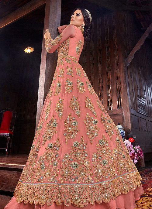 Peach And Grey Floral Anarkali Style Lehenga/Pant Suit, Salwar Kameez