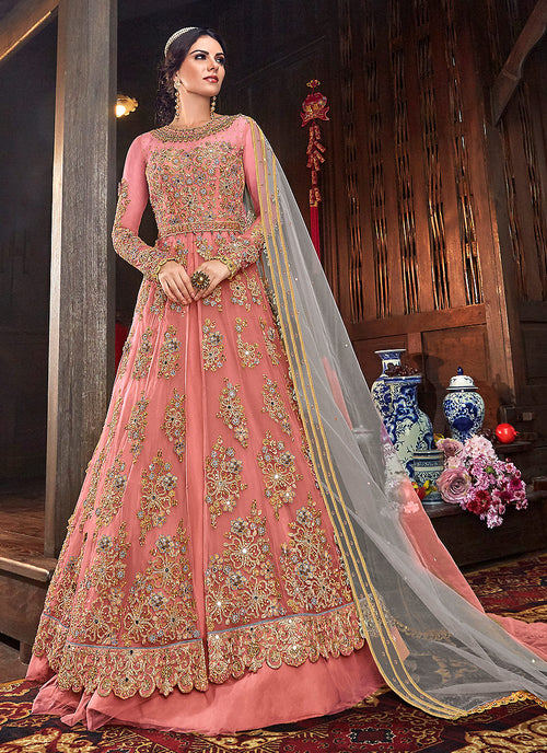 Indian Clothes - Peach And Grey Floral Anarkali Style Lehenga/Pant Suit