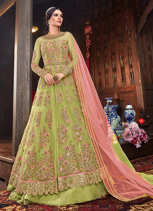Indian Clothes - Green Floral Anarkali Style Lehenga/Pant Suit