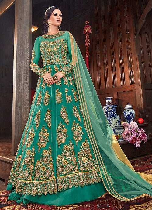 Indian Clothes - Rama Green Floral Anarkali Style Lehenga/Pant Suit