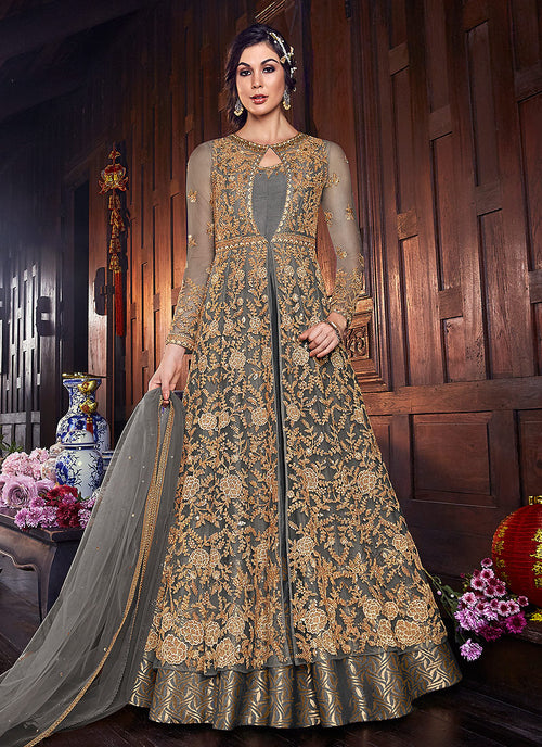 Indian Clothes - Grey And Golden Zari Embroidered Anarkali Suit
