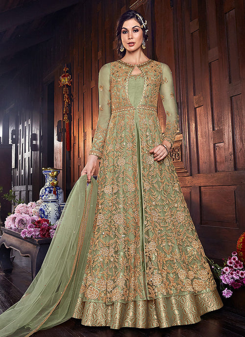 Indian Clothes - Green And Golden Zari Embroidered Anarkali Suit