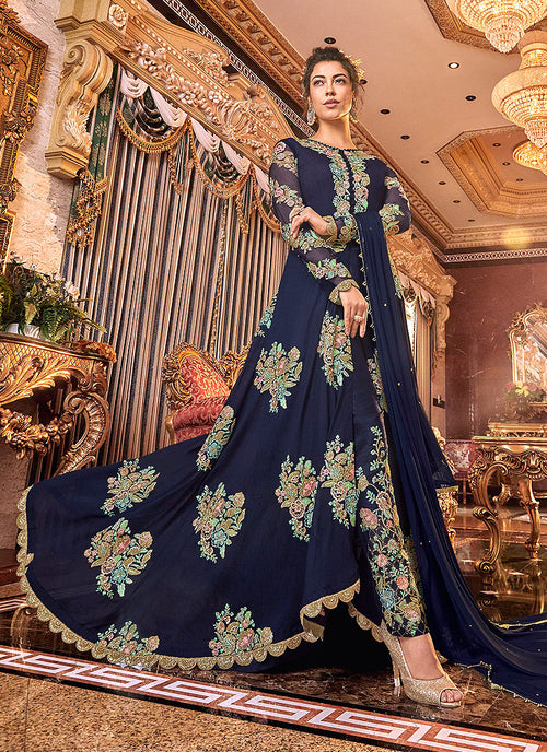 Dark Blue Floral Embroidered Anarkali Pants Suit