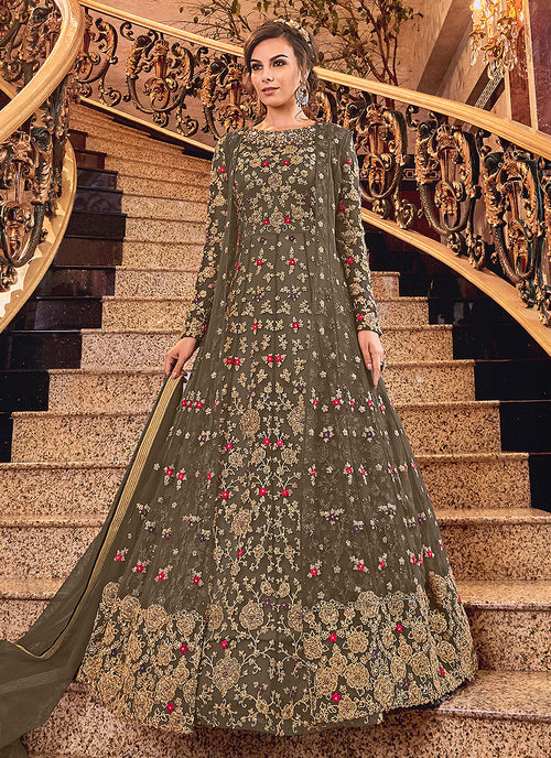 Indian Clothes - Olive Green Designer Jacket Anarkali Suit