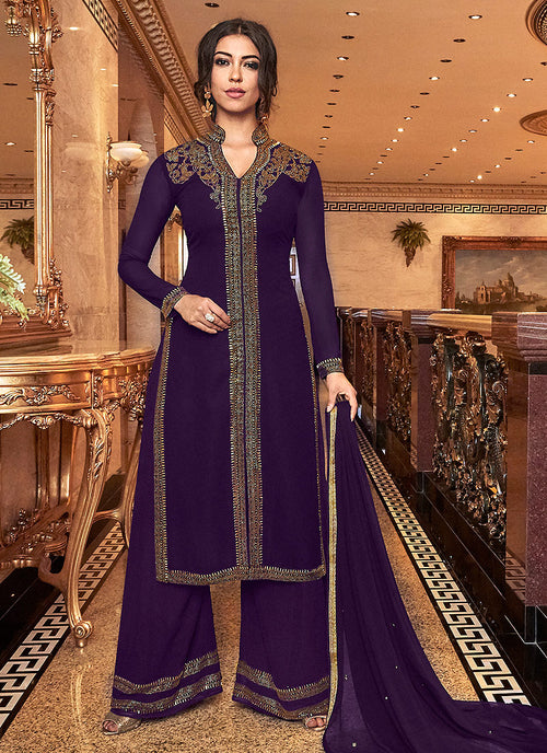 Deep Purple Embroidered Palazzo Suit