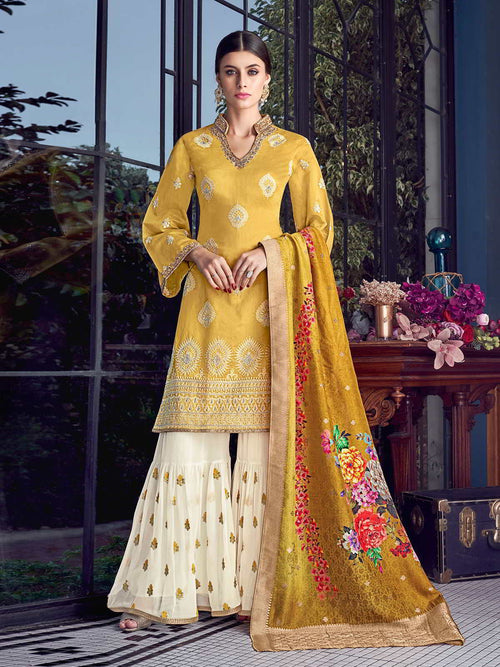Yellow Beige Lucknowi Sharara Palazzo Suit