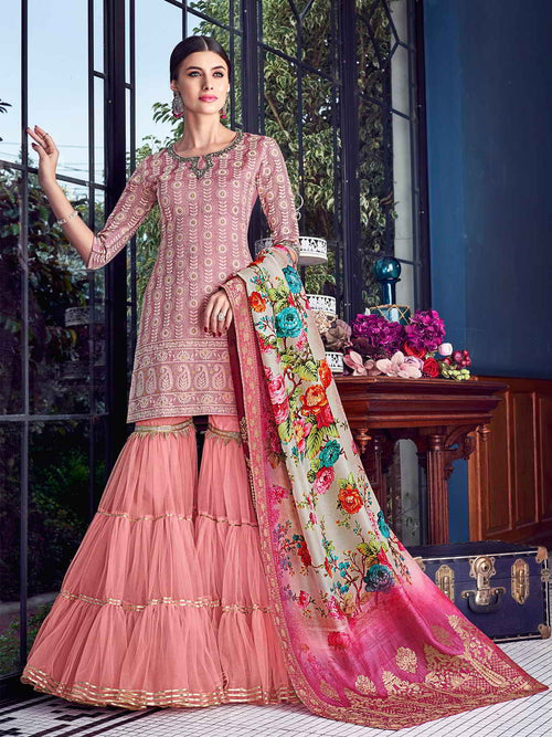 Baby Pink Lucknowi Gharara Palazzo Suit